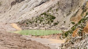 Chaiten volcanic lake, actually this green