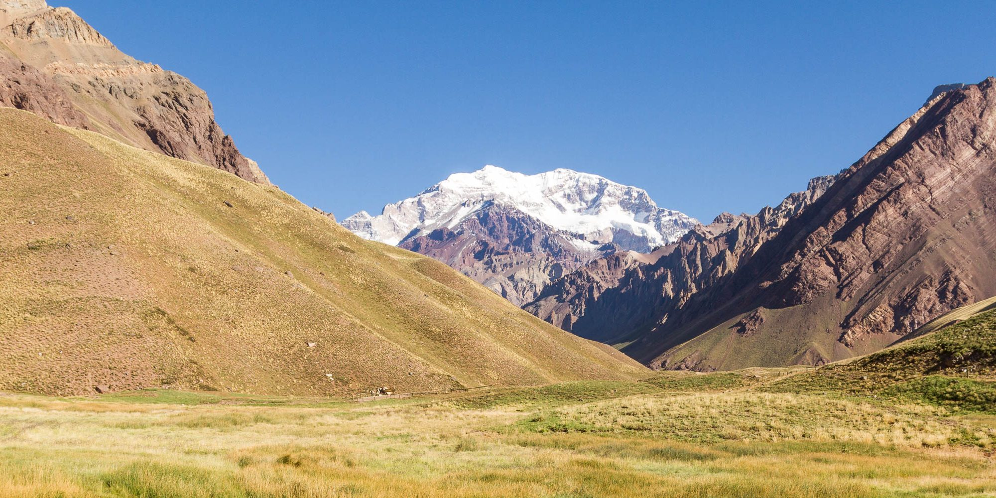View of Aconcagua from the bottom of the trail to base camp